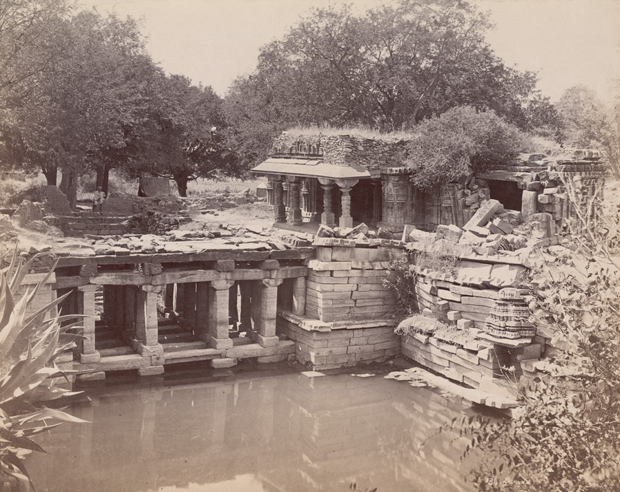Ruined temple and step-well outside the village, Lakkundi 10031987